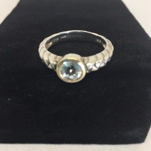 Tiffany sterling & 14 kt gold ring , size 6.5 -7.